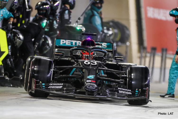 Mercedes pit stop, 2020 Sakhir Grand Prix