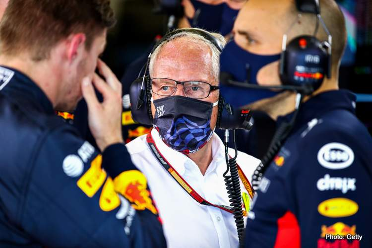Red Bull Racing Team Consultant Dr Helmut Marko looks on in the garage