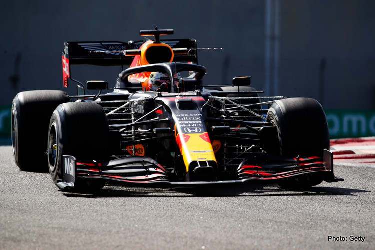 Max Verstappen of the Netherlands driving the (33) Aston Martin Red Bull Racing RB16 on track during practice ahead of the F1 Grand Prix of Abu Dhabi at Yas Marina Circuit on December 11, 2020 in Abu Dhabi, United Arab Emirates.