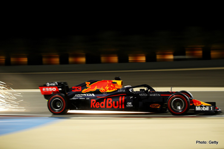 Max Verstappen of the Netherlands driving the (33) Aston Martin Red Bull Racing RB16 on track during practice ahead of the F1 Grand Prix of Sakhir at Bahrain International Circuit on December 04, 2020 in Bahrain, Bahrain
