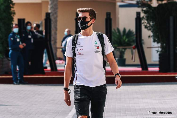george russell mercedes abu dhabi walking gates