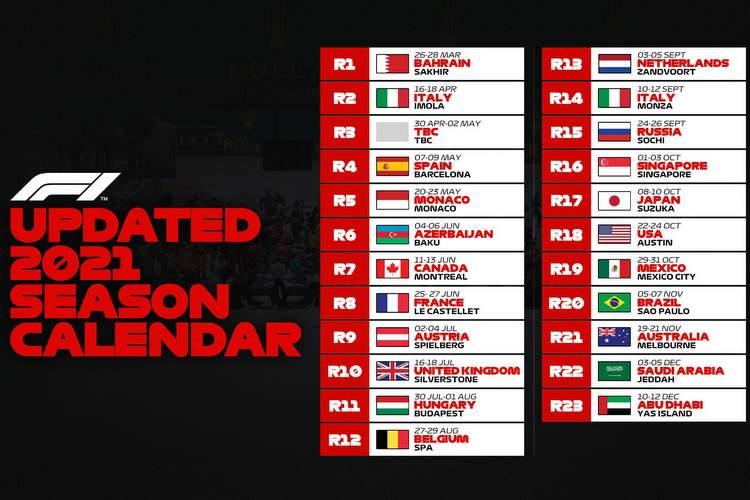 F1 2021 Calendar 2021 F1 begins in Bahrain on heavily revised calendar | GRAND PRIX 247