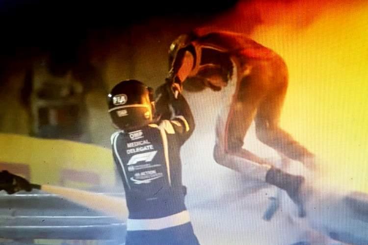 Romain Grosjean Bahrain Crash