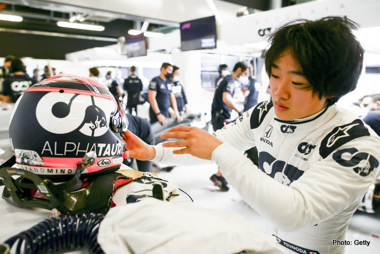 ABU DHABI, UNITED ARAB EMIRATES - DECEMBER 15: Yuki Tsunoda of Scuderia AlphaTauri and Japan during the F1 Young Drivers Test at Yas Marina Circuit on December 15, 2020 in Abu Dhabi, United Arab Emirates