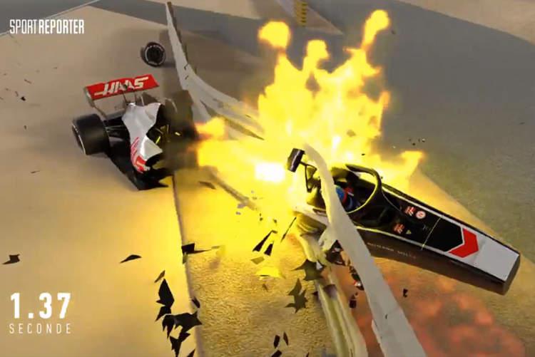 grosjean accident fire f1 bahrain