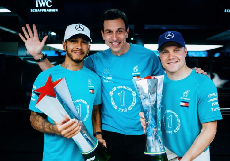hamilton wolf bottas winners trophy