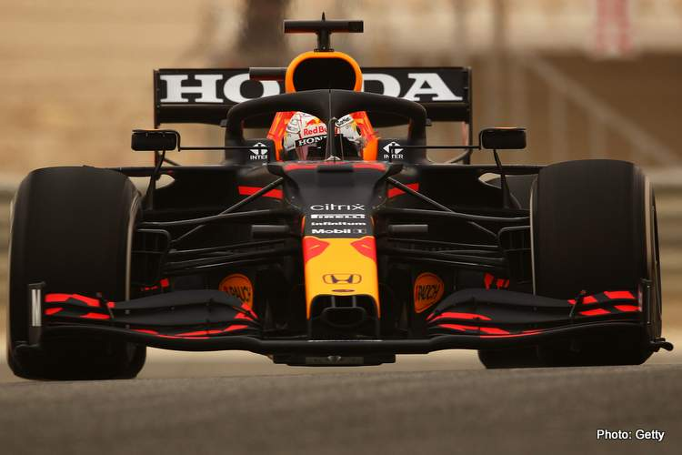 Max Verstappen of the Netherlands driving the (33) Red Bull Racing RB16B Honda