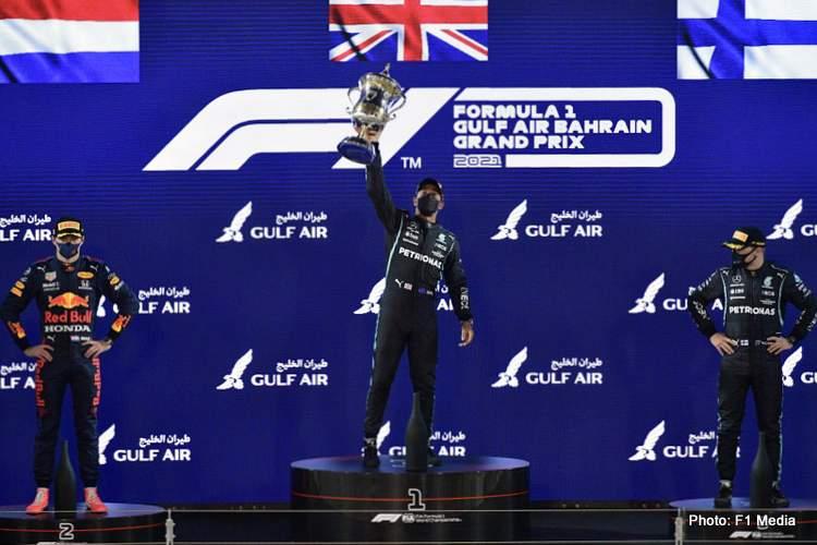 2021 Bahrain Grand Prix podium Hamilton Verstappen Bottas
