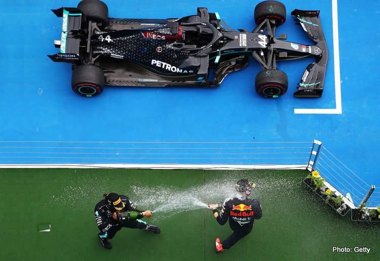 Verstappen Hamilton podium
