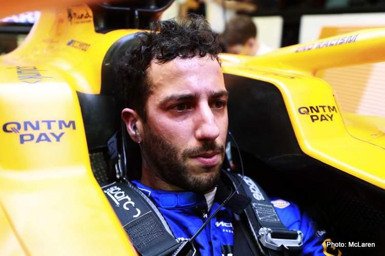 Ricciardo McLaren driver cockpit
