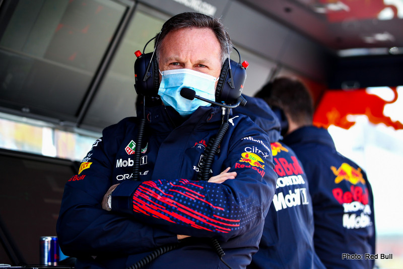 IMOLA, ITALY - APRIL 16: Red Bull Racing Team Principal Christian Horner looks on from the pitwall during practice ahead of the F1 Grand Prix of Emilia Romagna at Autodromo Enzo e Dino Ferrari on April 16, 2021 in Imola, Italy. (Photo by Mark Thompson/Getty Images) // Getty Images / Red Bull Content Pool // SI202104160129 // Usage for editorial use only //
