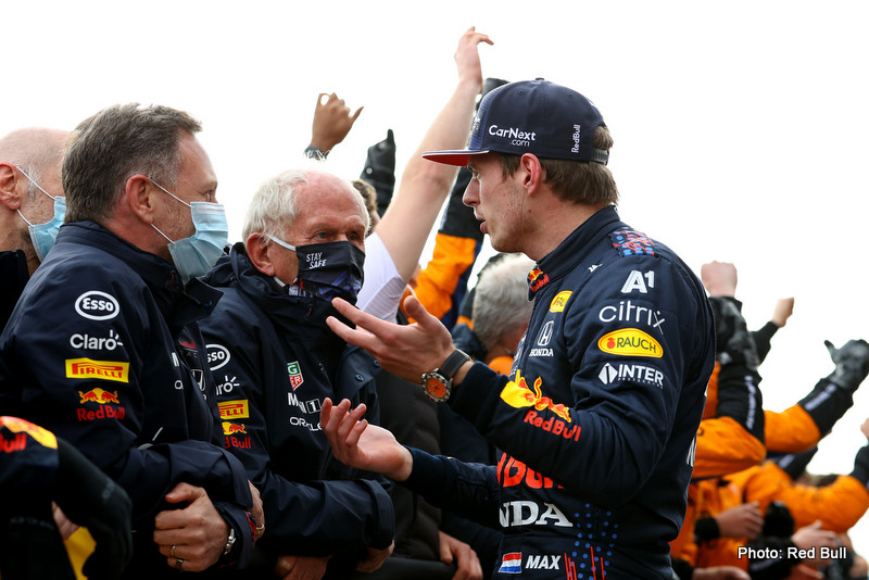 IMOLA, ITALY - APRIL 18: Race winner Max Verstappen of Netherlands and Red Bull Racing talks with Red Bull Racing Team Principal Christian Horner and Red Bull Racing Team Consultant Dr Helmut Marko in parc ferme after the F1 Grand Prix of Emilia Romagna at Autodromo Enzo e Dino Ferrari on April 18, 2021 in Imola, Italy. (Photo by Bryn Lennon/Getty Images) // Getty Images / Red Bull Content Pool // SI202104180550 // Usage for editorial use only //