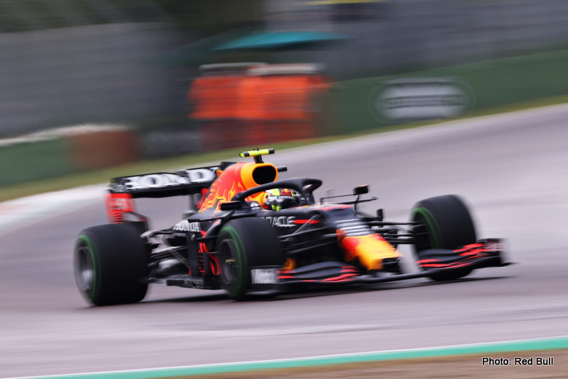 IMOLA, ITALY - APRIL 18: Sergio Perez of Mexico driving the (11) Red Bull Racing RB16B Honda on track during the F1 Grand Prix of Emilia Romagna at Autodromo Enzo e Dino Ferrari on April 18, 2021 in Imola, Italy. (Photo by Lars Baron/Getty Images) // Getty Images / Red Bull Content Pool // SI202104180554 // Usage for editorial use only //
