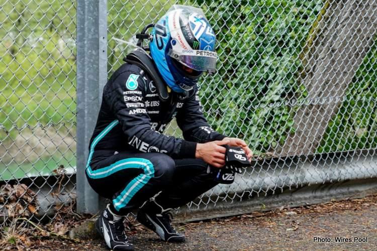 Valtteri-Bottas after imola crash sitting mercedes russell villeneuve