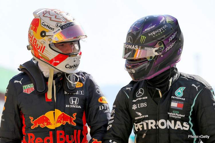 Verstappen-Hamilton-portugal 2021 Horner pressure Red Bull acid test