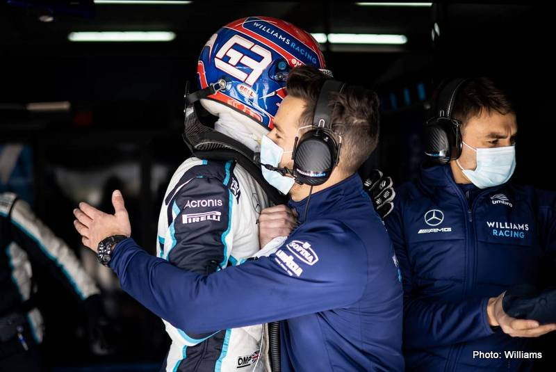 George Russell (GBR) Williams Racing celebrates with the team in qualifying. Emilia Romagna Grand Prix, Saturday 17th April 2021. Imola, Italy.