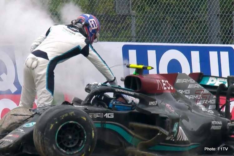 russell slaps hits bottas crash imola 2021