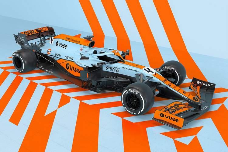 McLaren 2021 Monaco Gulf livery