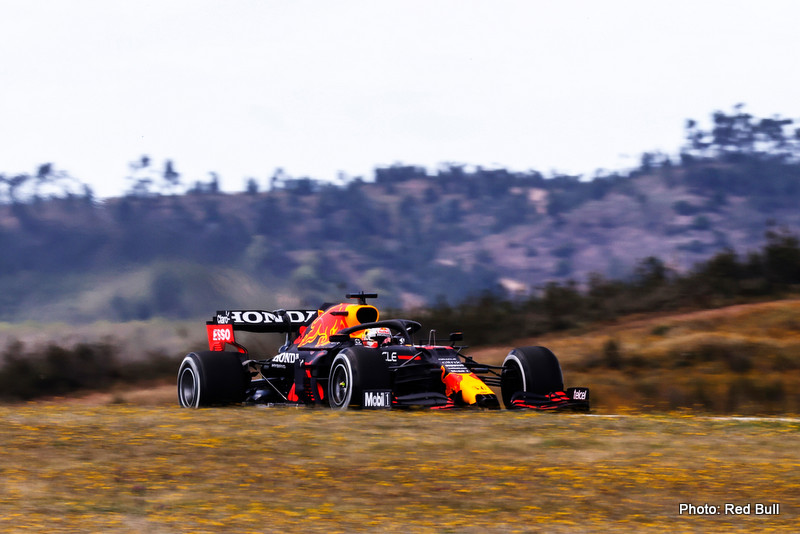 PORTIMAO, PORTUGAL - APRIL 30: Max Verstappen of the Netherlands driving the (33) Red Bull Racing RB16B Honda on track during practice ahead of the F1 Grand Prix of Portugal at Autodromo Internacional Do Algarve on April 30, 2021 in Portimao, Portugal. (Photo by Lars Baron/Getty Images) // Getty Images / Red Bull Content Pool // SI202104300991 // Usage for editorial use only //