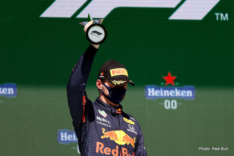 PORTIMAO, PORTUGAL - MAY 02: Second placed Max Verstappen of Netherlands and Red Bull Racing celebrates on the podium during the F1 Grand Prix of Portugal at Autodromo Internacional Do Algarve on May 02, 2021 in Portimao, Portugal. (Photo by Bryn Lennon/Getty Images) // Getty Images / Red Bull Content Pool // SI202105020288 // Usage for editorial use only //