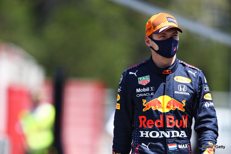 BARCELONA, SPAIN - MAY 06: Max Verstappen of Netherlands and Red Bull Racing walks in the Paddock during previews ahead of the F1 Grand Prix of Spain at Circuit de Barcelona-Catalunya on May 06, 2021 in Barcelona, Spain. (Photo by Mark Thompson/Getty Images) // Getty Images / Red Bull Content Pool // SI202105060255 // Usage for editorial use only //