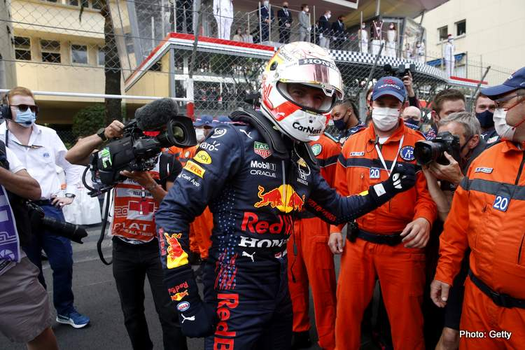 Nit Hamilton with Max Verstappen Red Bull Monaco winner
