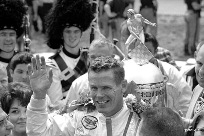 Bobby Unser celebrates winning the 52nd running of the Indianapolis 500