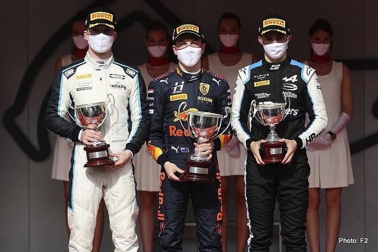Monaco podium, F2, Formula 2, Sprint Race, Ticktum, Lawson, Piastri