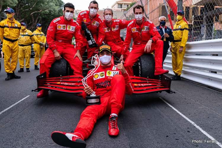Carlos Sainz Ferrari celebrate Monaco Grand Prix 2021