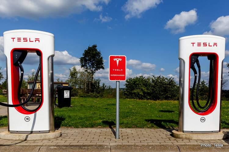 tesla electric f1 charging station