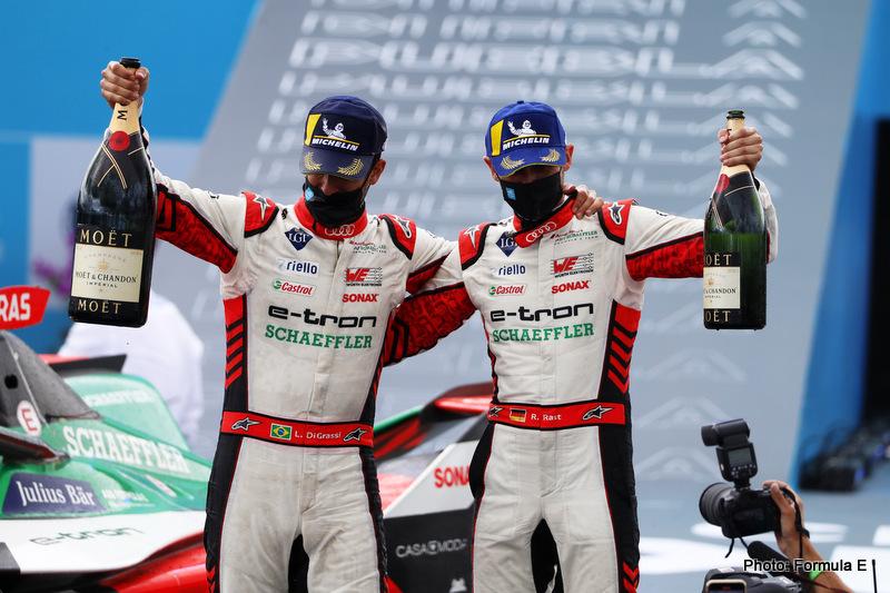 Rene Rast (DEU), Audi Sport ABT Schaeffler, 2nd position, and Lucas Di Grassi (BRA), Audi Sport ABT Schaeffler, 1st position, celebrate with Champagne