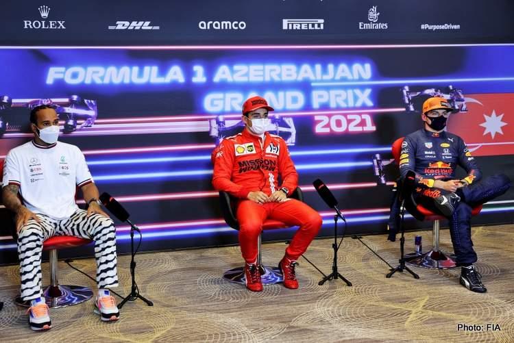2021 Azerbailajn grand prix qualifying press conference leclerc hamilton verstappen fia