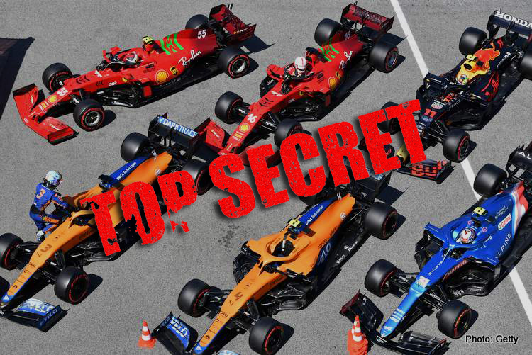 The cars of Daniel Ricciardo, McLaren MCL35M, and Lando Norris, McLaren MCL35M, in parc ferme