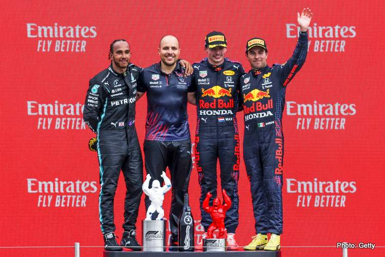 hamilton verstappen perez red bull french grand prix podium photo