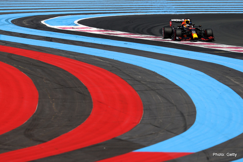 LE CASTELLET, FRANCE - JUNE 18: Max Verstappen of the Netherlands driving the (33) Red Bull Racing RB16B Honda on track during practice ahead of the F1 Grand Prix of France at Circuit Paul Ricard on June 18, 2021 in Le Castellet, France. (Photo by Clive Rose/Getty Images)