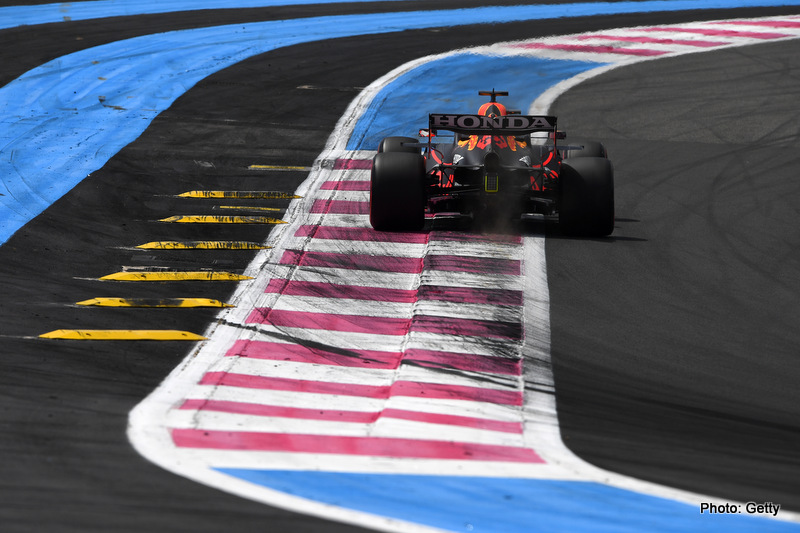LE CASTELLET, FRANCE - JUNE 18: Max Verstappen of the Netherlands driving the (33) Red Bull Racing RB16B Honda on track during practice ahead of the F1 Grand Prix of France at Circuit Paul Ricard on June 18, 2021 in Le Castellet, France. (Photo by Rudy Carezzevoli/Getty Images)