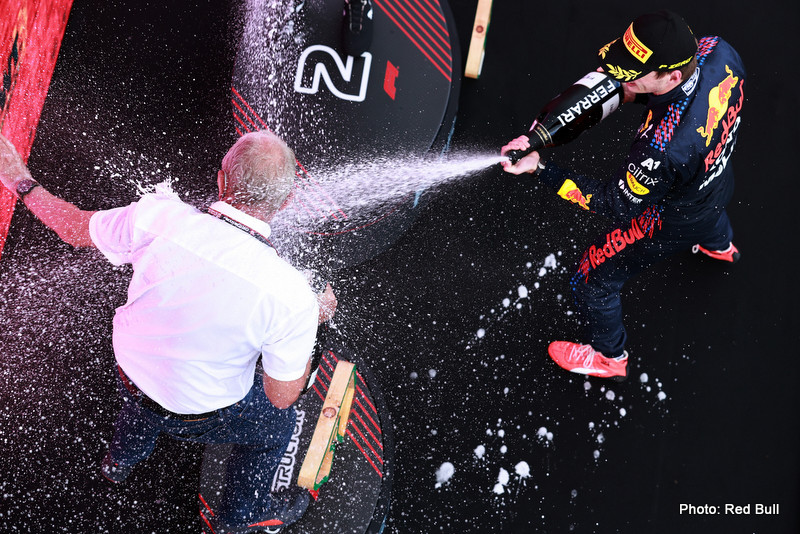 SPIELBERG, AUSTRIA - JUNE 27: Race winner Max Verstappen of Netherlands and Red Bull Racing celebrates with Red Bull Racing Team Consultant Dr Helmut Marko on the podium during the F1 Grand Prix of Styria at Red Bull Ring on June 27, 2021 in Spielberg, Austria. (Photo by Mark Thompson/Getty Images) // Getty Images / Red Bull Content Pool // SI202106270426 // Usage for editorial use only // Horner