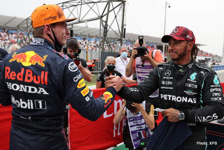 Pole for Max Verstappen (NLD) Red Bull Racing and 2nd for Lewis Hamilton (GBR) Mercedes AMG F1.19.06.2021. Formula 1 World Championship, Rd 7, French Grand Prix, Paul Ricard, France, Qualifying Day.- www.xpbimages.com, EMail: requests@xpbimages.com © Copyright: FIA Pool Image for Editorial Use Only