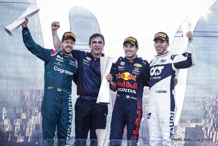 Azerbaijan Baku Podium 2021, Perez, Vettel, Gasly