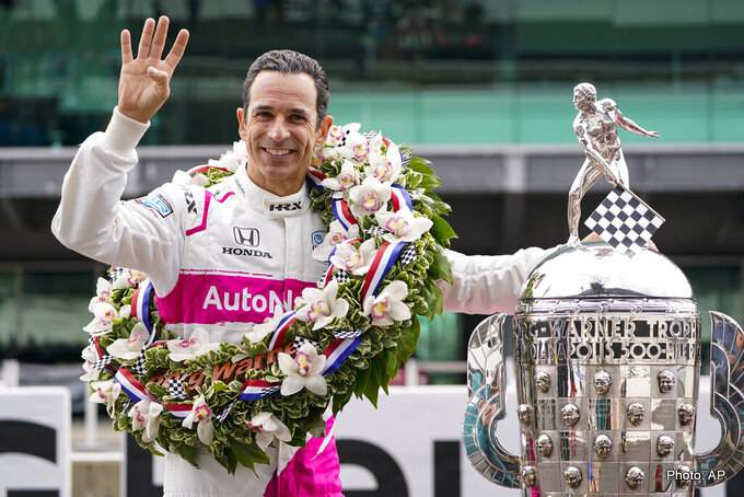 Helio Castroneves of Brazil, winner of the 2021 Indianapolis 500