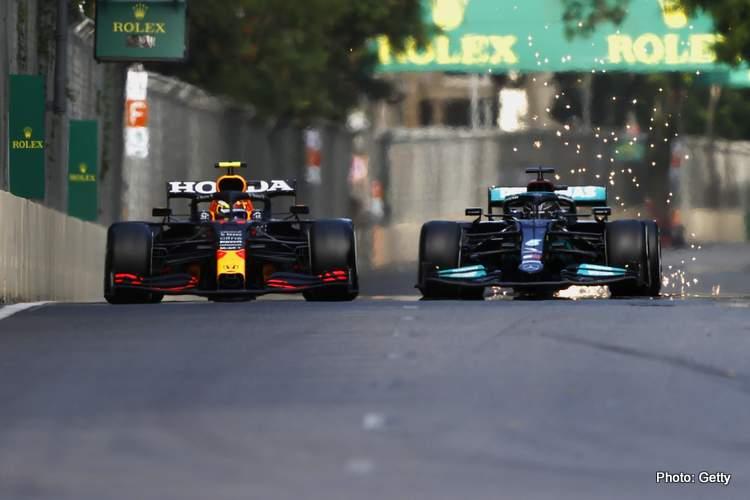 lewis hamilton sergio perez baku 2021 F1 race