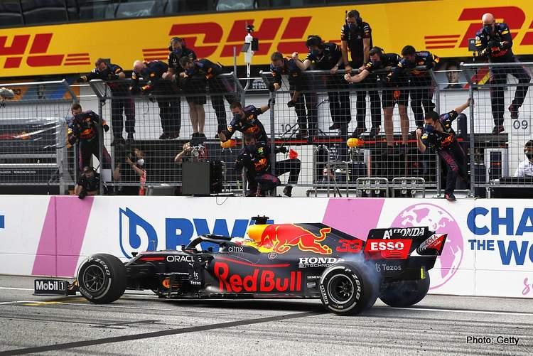 max verstappen victory burnout styrian grand prix