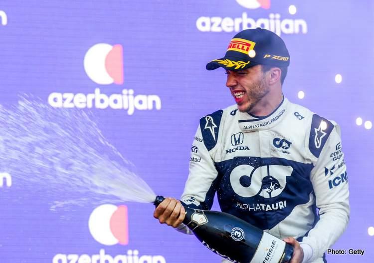 pierre gasly 2021 Azerbaijan Grand Prix podium third Alpha Tauri Baku F1