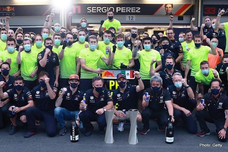 red bull sergio perez max verstappen celebrate azerbaijan grand prix victory F1 baku