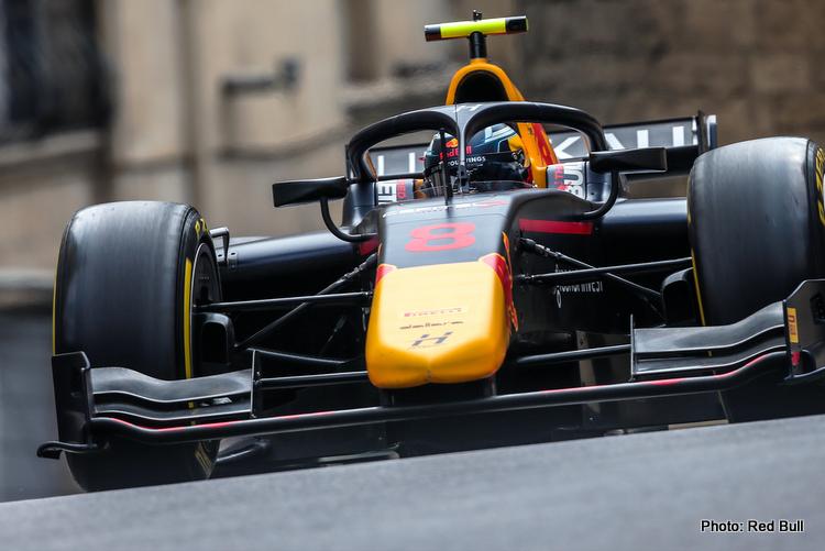 Juri Vips Formula 2, Red Bull, Hitech GP, Baku, Azerbaijan