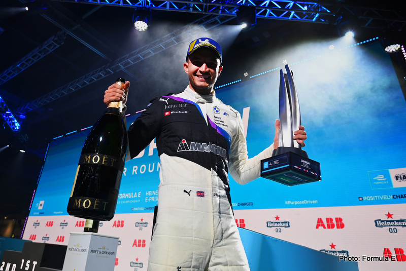 Race winner Jake Dennis (GBR), BMW I Andretti Motorsport, 1st position, with his trophy and Champagne