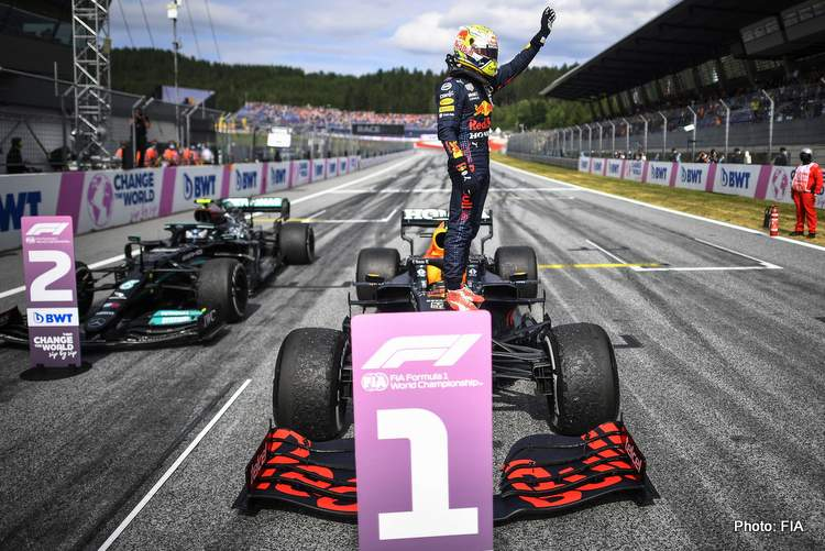 First placed Dutch Formula One driver Max Verstappen of Red Bull Racing gestures after the Formula One Grand Prix of Austria at the Red Bull Ring in Spielberg, Austria, 04 July 2021.