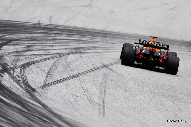 SPIELBERG, AUSTRIA - JULY 02: Max Verstappen of the Netherlands driving the (33) Red Bull Racing RB16B Honda during practice ahead of the F1 Grand Prix of Austria at Red Bull Ring on July 02, 2021 in Spielberg, Austria. (Photo by Clive Rose/Getty Images) // Getty Images / Red Bull Content Pool // SI202107020263 // Usage for editorial use only //