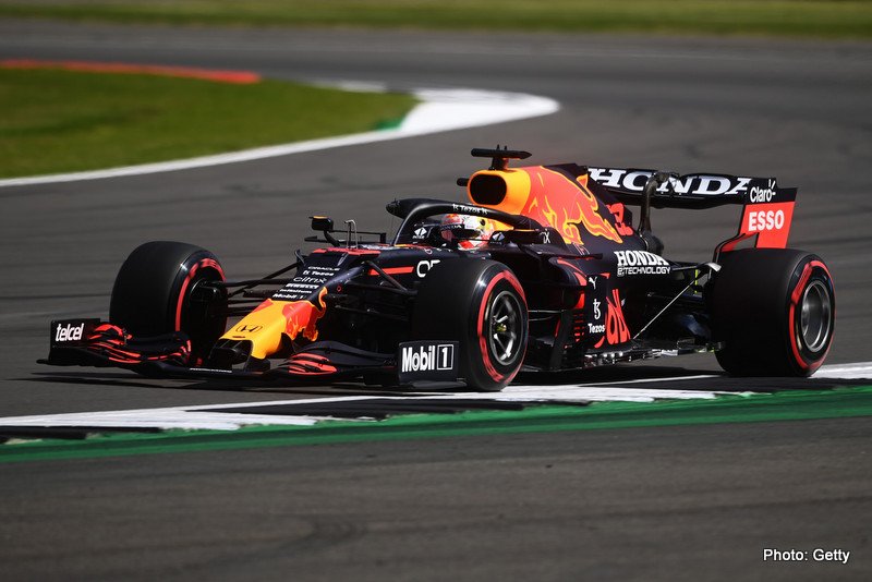 NORTHAMPTON, ENGLAND - JULY 16: Max Verstappen of the Netherlands driving the (33) Red Bull Racing RB16B Honda during practice ahead of the F1 Grand Prix of Great Britain at Silverstone on July 16, 2021 in Northampton, England. (Photo by Michael Regan/Getty Images) // Getty Images / Red Bull Content Pool // SI202107160351 // Usage for editorial use only //