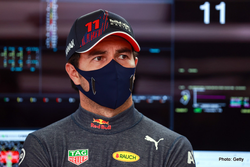 NORTHAMPTON, ENGLAND - JULY 17: Sergio Perez of Mexico and Red Bull Racing prepares to drive in the garage before the Sprint for the F1 Grand Prix of Great Britain at Silverstone on July 17, 2021 in Northampton, England. (Photo by Mark Thompson/Getty Images) // Getty Images / Red Bull Content Pool // SI202107170354 // Usage for editorial use only //